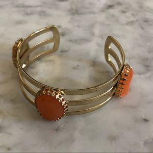 Francesca's Orange Stone Gold Cuff Bracelet